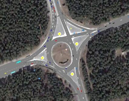 Моделирование различных вариантов организации кругового движения на перекрестке в Сосновом бору.