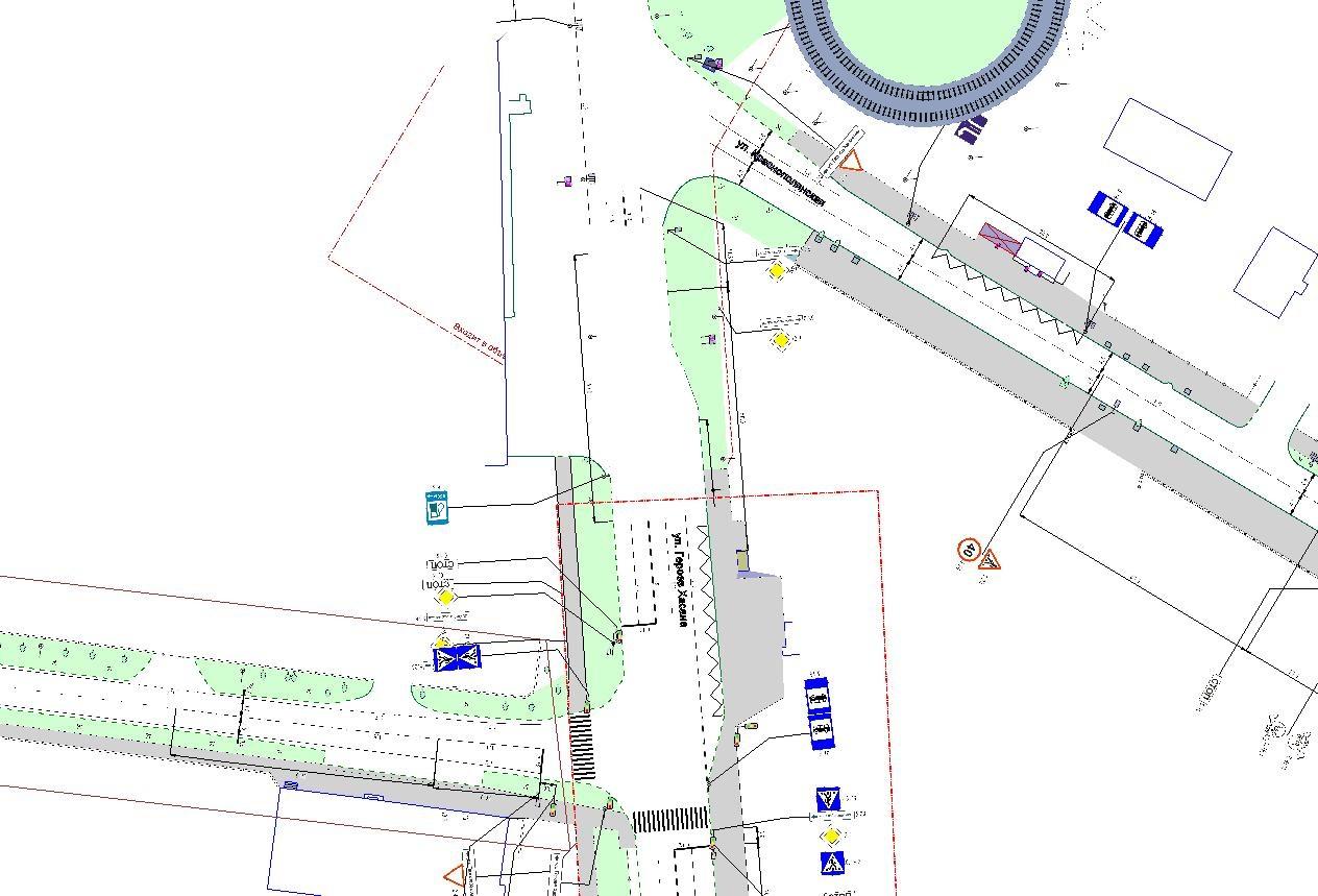 Рис. 2. Схема организации движения на перекрестках ул. Героев Хасана - ул. Хлебозаводская и ул. Героев Хасана - ул...