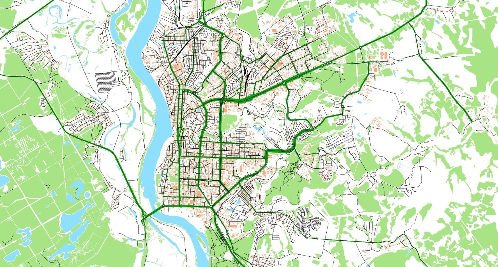 Картограмма интенсивностей движения транспортных потоков на улично-дорожной сети г. Томска