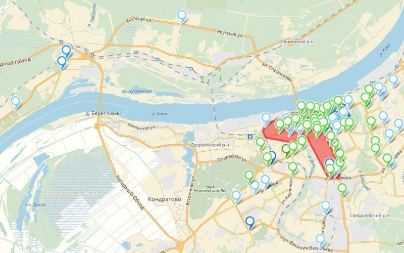 Рис. 4 – Картограмма дислокации мест подсчета интенсивности транспортных потоков