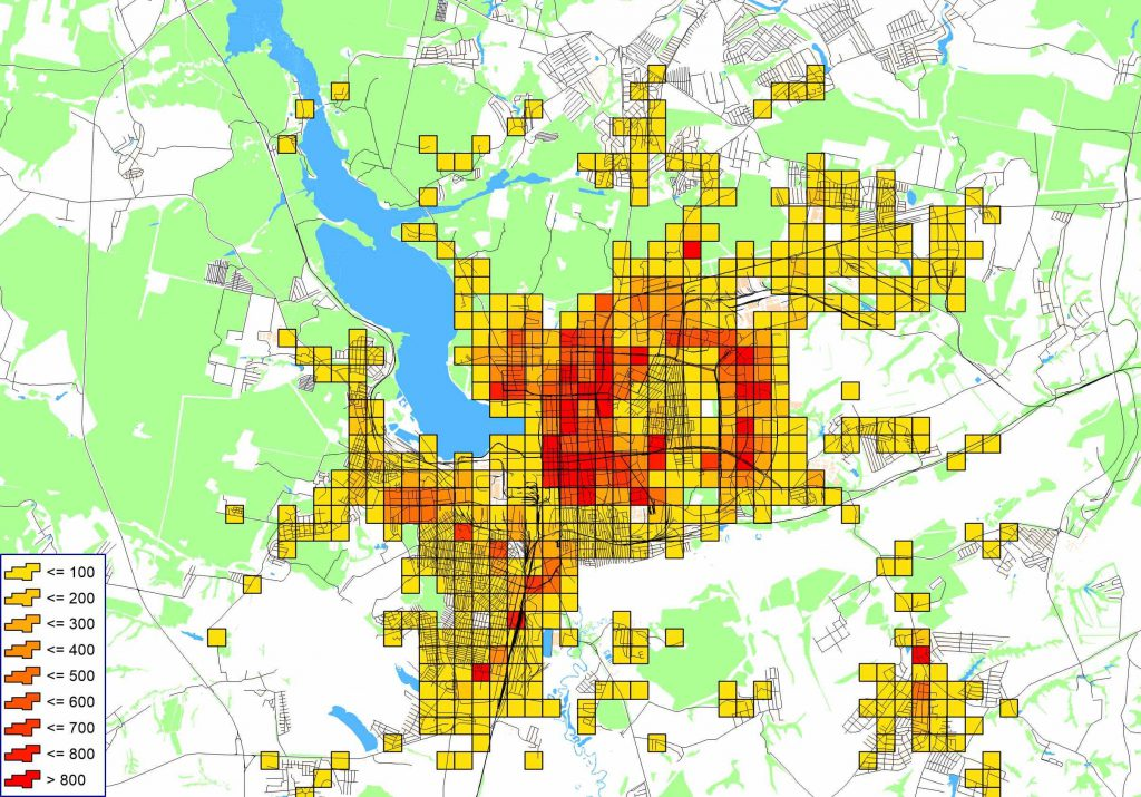 Картограмма распределения мест приложения труда в сфере услуг по территории города г. Ижевска