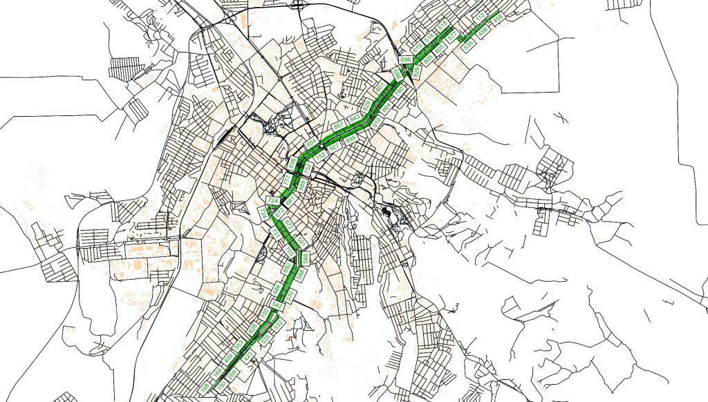 Картограмма пассажиропотоков на маршруте Автобус 13, пасс./сутки