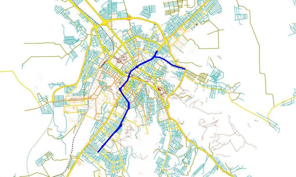 Рис. 2. Трассировка маршрута автобуса 2 для варианта 1 оптимизации маршрутной сети