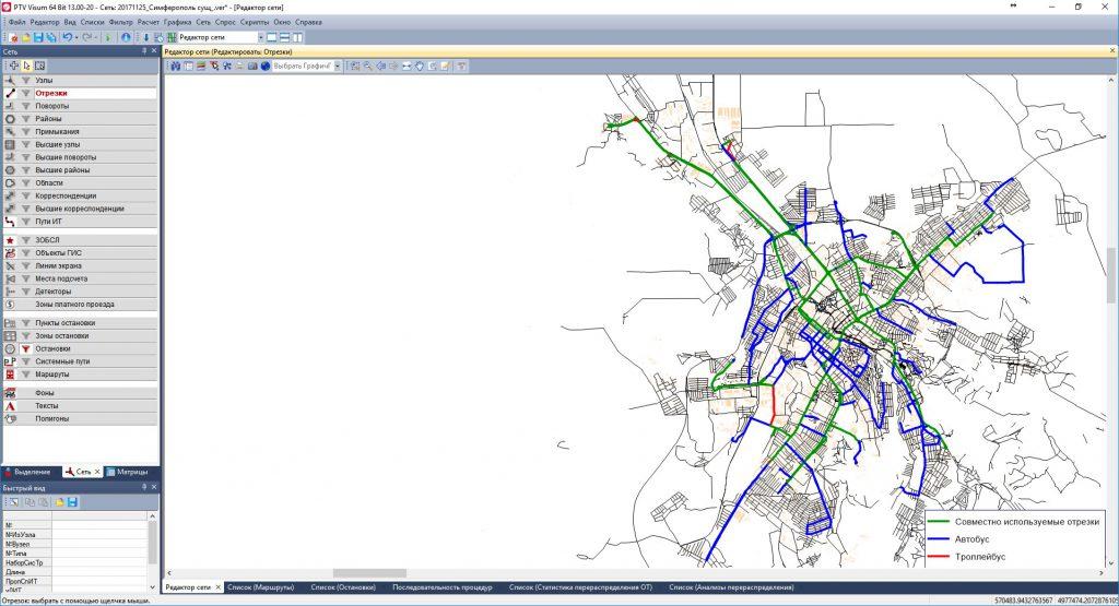 Картограмма дублирования автобусной и троллейбусной маршрутных сетей