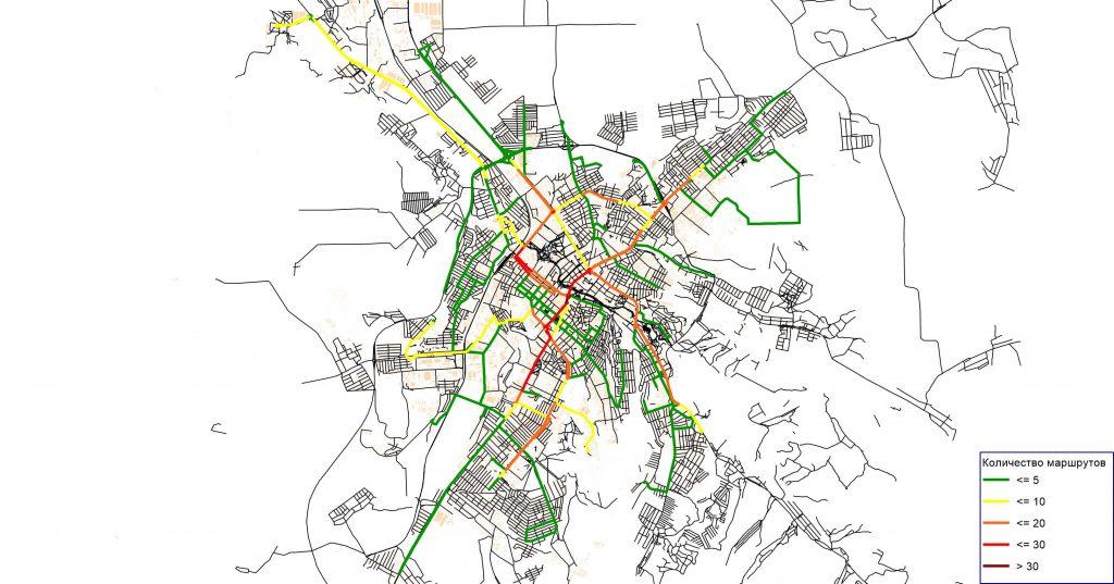 Картограмма дублирования маршрутов ГПТПОП г. Симферополя