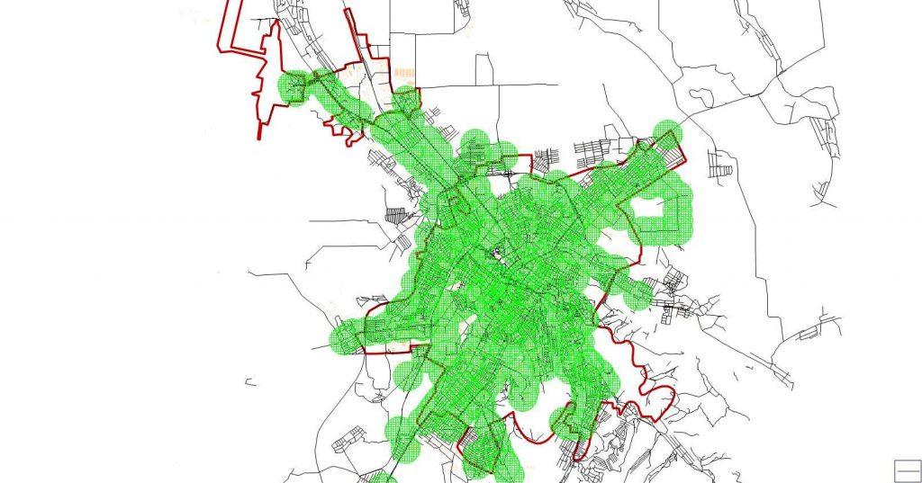 Картограмма 500-метровой доступности остановок ГПТОП г. Симферополя