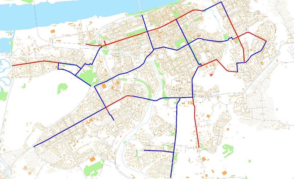 Трассировка планируемой сети велодорожек в городе Перми к 2035 году